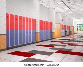 lockers in the high school hallway. 3d illustration