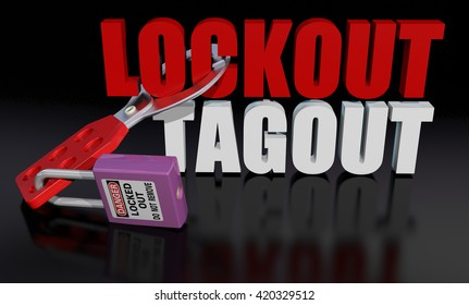 Lockout Tagout logo, 3D illustration