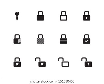 Locks icons on white background. See also vector version.