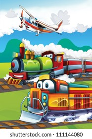 The locomotive and the flying machine - illustration for the children 12