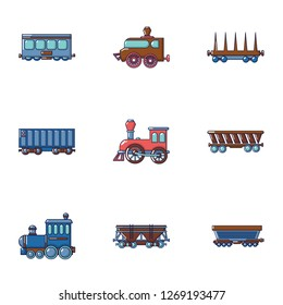 Locomotive icons set. Cartoon set of 9 locomotive icons for web isolated on white background