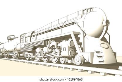 locomotive, sketch, 3d illustration