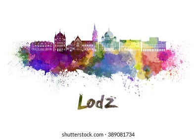 Lodz skyline in watercolor splatters with clipping path