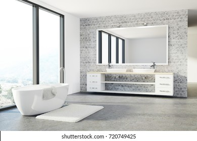 Loft bathroom interior with white and concrete walls, a concrete floor, a double sink and a white tub. 3d rendering mock up