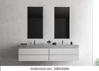 Loft bathroom interior with white walls, and a double sink with two narrow vertical mirrors hanging above it. 3d rendering