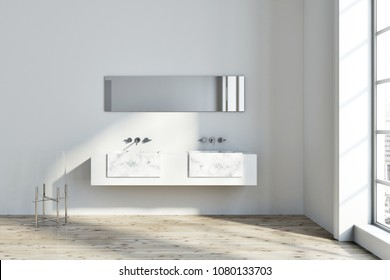 Loft bathroom interior with white walls, and a white marble double sink with a narrow horizontal mirror hanging above it. 3d rendering