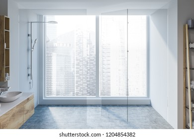 Loft bathroom interior with white walls, concrete floor, glass wall shower and white sink standing on wooden countertop. 3d rendering