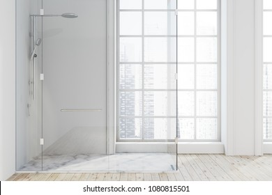 Loft bathroom interior with a wooden and marble floor, white walls, and a shower stall. A beautiful cityscape seen through the windows. 3d rendering