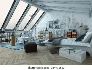 Loft bedroom covered in hardwood floors with pictures, seat cushions and other decorations with slanted windows above. 3d Rendering.