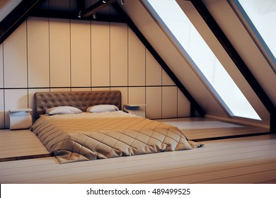 Loft bedroom interior with furniture and windows with no view at dusk. 3D Rendering