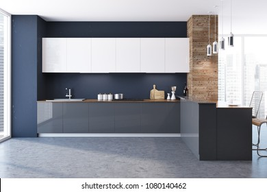 Loft black and wooden wall kitchen interior with a concrete floor, white and gray countertops and original ceiling lamps. 3d rendering mock up