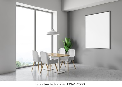 Loft cafe corner with gray walls, concrete floor, white chairs standing near wooden tables. Vertical poster on the wall. 3d rendering mock up