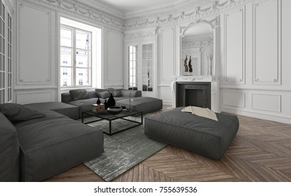 Loft conversion with classic paneling and ceiling moldings over a herringbone hardwood floor furnished with grey upholstered sofas and ottoman. 3d rendering