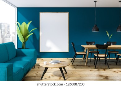 Loft dining room interior with blue walls, wooden floor, wooden table with black and beige chairs and blue sofa near coffee table. Vertical poster. 3d rendering mock up