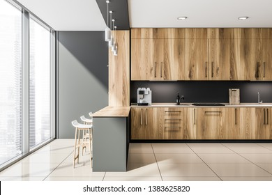 Loft gray kitchen interior with gray bar, wooden countertops with built in sink and cooker and modern coffee machine. 3d rendering