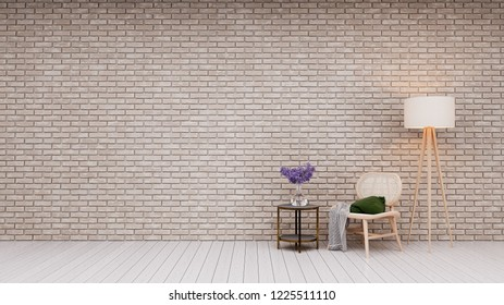 loft interior with a  armchaire 3d rendering