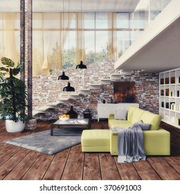 Loft - Interior design - 3D Render