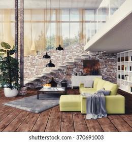 Loft - Interior design - 3D Render