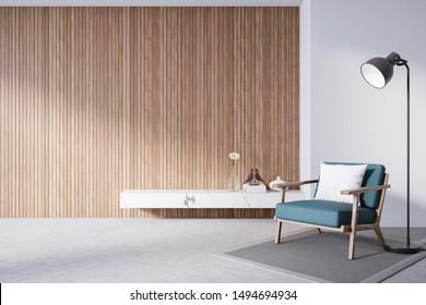 Loft interior design ,green  chair on wooden wall with cement flooring , 3d render
