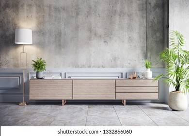 Loft interior design ,Wood Tv cabinet and concrete wall with cement flooring , 3d render