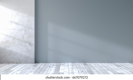 loft  interior of living room, white flooring and blue wall ,empty room ,3d rendering