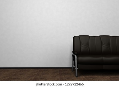 Loft interior mock up photo. Black leather sofa. Minimalist style. Background photo with copy space for text. Black wall and wooden floor. 3D illustration.