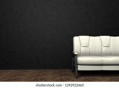 Loft interior mock up photo. Brown leather sofa. Minimalist style. Background photo with copy space for text. Black wall and wooden floor. 3D illustration.