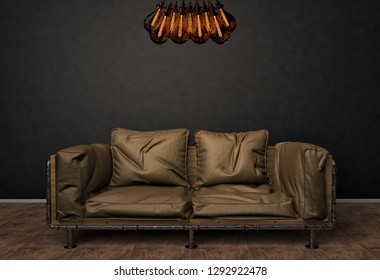 Loft interior mock up photo. Brown leather sofa and minimalist luster with Tesla lamps. Background photo with copy space for text. Black wall and wooden floor. 3D illustration.