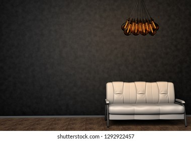 Loft interior mock up photo. White leather sofa and minimalist luster with Tesla lamps. Background photo with copy space for text. Black wall and wooden floor. 3D illustration.