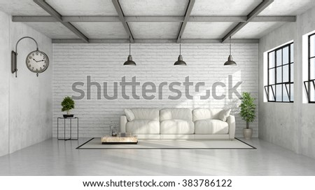 Loft Interior With White Brick Wall And White Sofa   3D Rendering