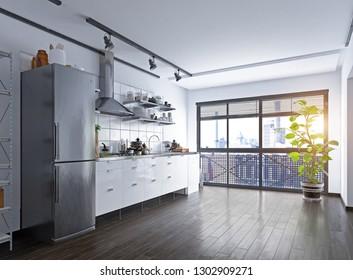 loft kitchen interior. 3d rendering design