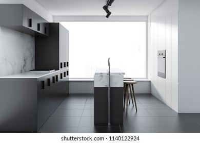 Loft kitchen interior with white walls, a concrete floor, gray bar and countertops with built in appliances. Side view. 3d rendering mock up