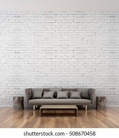 Loft Living room area and white brick wall texture