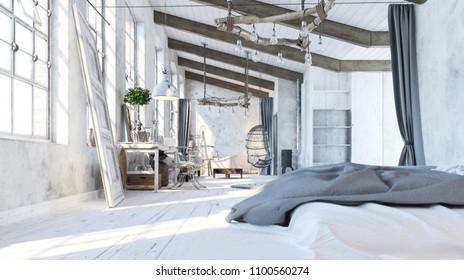 Loft living room. Interior design. Garret. Bedroom in loft style. 3d Illustration
