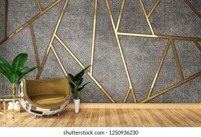 Loft living room interior with sofa and green plants on wall moulding gold concrete background,minimal designs, 3d rendering.