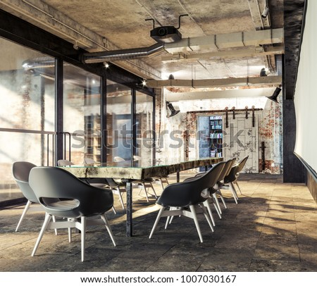 Good Loft Meeting Workplace. Loft Design. Modern Office. Offic Workspace. Loft  Office Interior