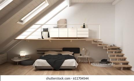 Loft mezzanine scandinavian minimalist bedroom, white classic interior design, 3d illustration
