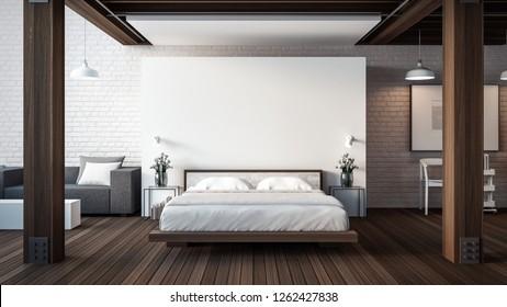 The Loft & Modern Bedroom / 3D render interior