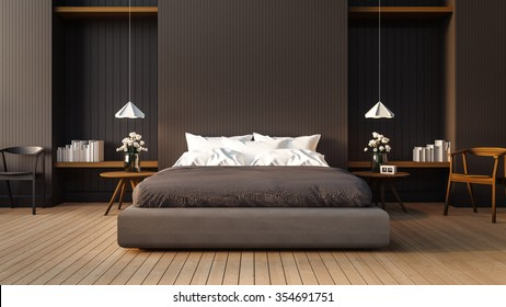 Loft and modern bedroom / 3D render image