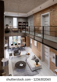 Loft modern interior designed as a open plan modern apartment. Open plan including kitchen, dining room, living room, glass railing, on the mezzanine. 3d rendering