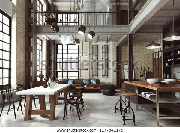 Loft modern interior designed as a open plan modern apartment. Open plan including kitchen, dining room, living room, home office and bedroom on the mezzanine. 3D illustration.