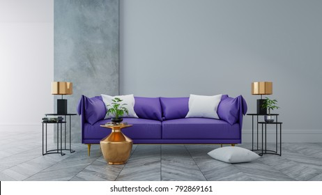Loft modern interior of living room ,Ultraviolet home decor concept ,purple sofa and black table with gold lamp on concrete and white wall and woodflooring ,3d render