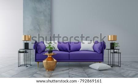 Loft modern interior living room ultraviolet stockillustration