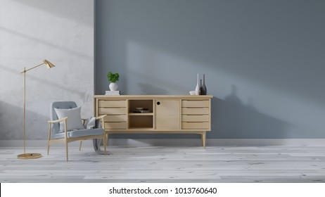 Loft and Modern mid Century interior of living room, Blue armchairs with wood sideboard on white flooring and blue wall,TV cabinet  ,3d rendering
