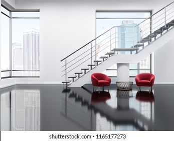Loft modern office waiting area with white walls, a glass black floor, a staircase and two soft red armchairs standing next to a coffee table. Luxury living room interior. 3d rendering mock up