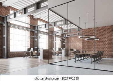 Loft open space office with a wooden floor, brick walls and gray and wooden computer desks. A conference room. 3d rendering mock up