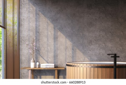 Loft style bathroom with nature view 3d rendering image Furnished with wood bathtub has concrete  walls and large windows look out to nature.