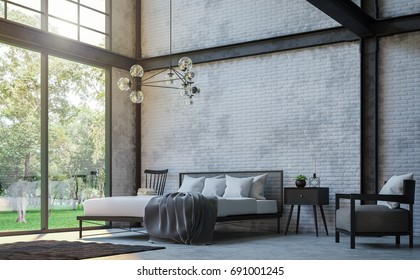 Loft style bedroom 3d rendering image.There are white brick wall,polished concrete floor and black steel structure.Furnished with black furniture.There are large windows look out to see the nature