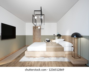 Loft style bedroom Interior design with rattan chair and desk with designer chandelier. 3D rendering.