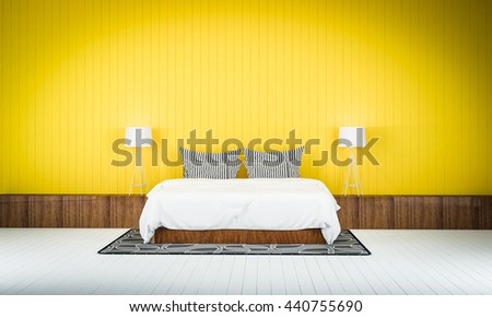 Loft Style Bedroom Yellow Color Wall Stock Illustration 440755690
